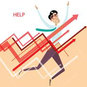 Tired businessman with graphs - stock illustration