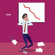 Angry businessman with negative graph - stock illustration
