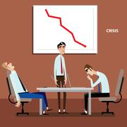 Businessmen on meeting with negative graph - stock illustration