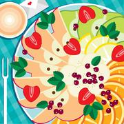 Table appointments with fruit plate - stock illustration