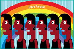 Love parade with rainbow - stock illustration