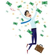 Happy businessman jumping with money - stock illustration