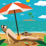 Man sunbathing on the beach - stock illustration