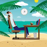 Businessman relaxing on tropical beach - stock illustration