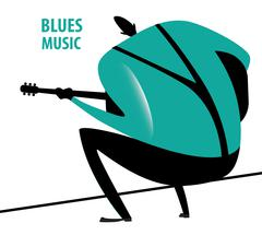 Man plays the blues - stock illustration