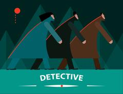 Detective in forest - stock illustration