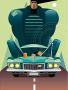Man in retro car on the road - stock illustration