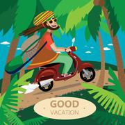 Rasta motorcyclist on the retro scooter - stock illustration
