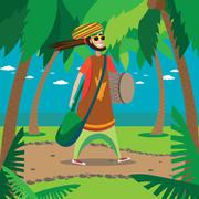 Rasta man walking - stock illustration