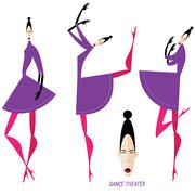 Collection of dancing women - stock illustration