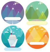 Set of mountain cards Stock Illustration