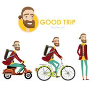 Hipster man on scooter - stock illustration