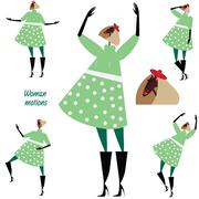 Set of woman motions in green - stock illustration