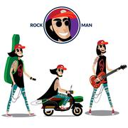 Rock man set - stock illustration