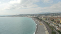 Beautiful panorama of Nice on a cloudy day - stock footage