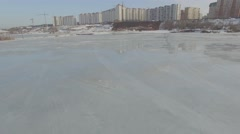 Aerial Flyover Frozen Lake Stock Footage