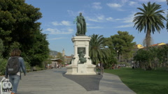 Statue to Andre Massena located on the Promenade du Paillon in Nice Stock Footage