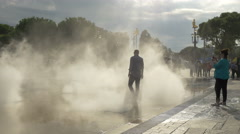 The Promenade du Paillon exhaling artificial mist, Nice Stock Footage