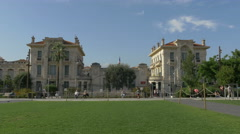 Walking and relaxing at Promenade du Paillon, near Lycée Masséna, Nice Stock Footage