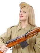 Portrait of pretty young woman in Russian military uniform, on white - stock photo