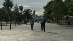 Visiting the Promenade du Paillon, near the Andre Massena statue, Nice Stock Footage