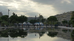 Miroir d'Eau, a water mirror at the Promenade du Paillon in Nice Stock Footage