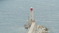 Lighthouse at the Lympia Port in Nice Stock Footage
