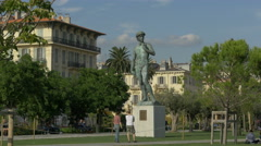 Davis statue at Promenade du Paillon in Nice Stock Footage