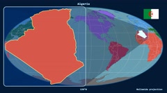 Algeria - 3D tube zoom (Mollweide projection). Continents - stock footage