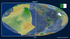 Algeria - 3D tube zoom (Mollweide projection). Bumps shaded - stock footage