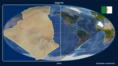 Stock Video Footage of Algeria - 3D tube zoom (Mollweide projection). Satellite