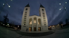 Medjugorje Bosnia and Herzegovina - Church at dusk magic hour fisheye Stock Footage