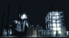 Chemical Plant Dolly Zoom Night Shot Stock Footage