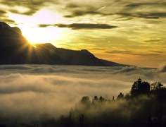 Foggy sunset natural 4K  Stock Footage