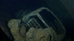 Fiat cars inside the Umbria shipwreck - Red sea, Sudan - stock footage