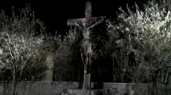 Medjugorje Bosnia and Herzegovina - Church at night Jesus on cross fountain Stock Footage