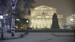 Bolshoi Theatre with a statue of Marx, Moscow, Russia Stock Footage