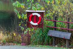 Stock Photo of Lifebuoy and rescue board