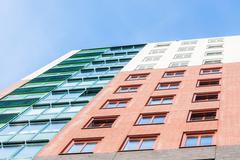 Colorful facade view of a skyscraper Stock Photos
