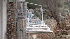 Medjugorje Bosnia and Herzegovina - Virgin Mary Statues for Sale - Close Stock Footage
