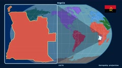 Angola - 3D tube zoom (Kavrayskiy VII projection). Continents - stock footage