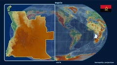 Angola - 3D tube zoom (Kavrayskiy VII projection). Relief - stock footage