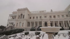 Livadia Palace in the winter facade Stock Footage