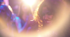 Stunning african-american woman clapping hands at party with friends Stock Footage