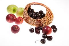 Isolated Peachesm Aplles And Cherries Stock Photos