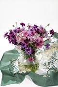 Flowers And Russian National Artworks - stock photo