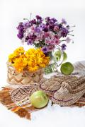 Flowers And Russian National Artworks Stock Photos