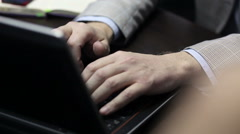 Image of man's hands typing. Selective focus - stock footage