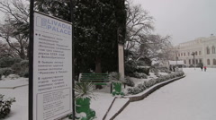 Livadia Palace in the snow winter Stock Footage