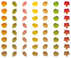 Leaves Changing Colors Autumn Brown Wither Stock Illustration